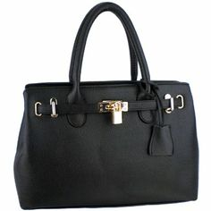 Amazon.com: MG Collection HESSA Black Décor Lock Office Tote Handbag: Clothing