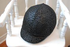 Helmet Cover silver/black CHEETAH PRINT by TheStitchingHorse