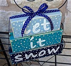 Save 15 Fall Sale Let it Snow Christmas Decor Wood by ArtSortof, $17.00