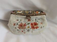 Vintage Beaded & Embroidered Flower Purse Hand Painted flower porcelain top
