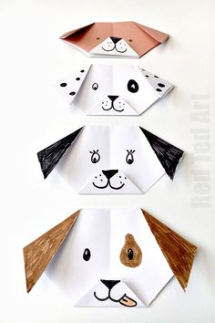 Easy Origami Dog for kids - adorable. Turn it your favourite breed. You can even make an emoji puppy origami! We love dog crafts, so very cute!