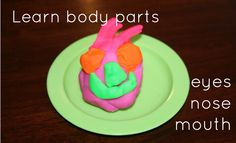 Playdoh faces - learning body part vocabulary. Toddler Language Development, Preschool Speech Therapy, Toddler Age, Games For Toddlers, Early Intervention, Speech Pathology, Speech And Language, Body Parts, 100 Games