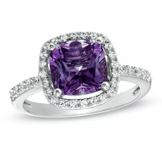8.0mm Cushion-Cut Amethyst and Lab-Created White Sapphire Frame Ring in Sterling Silver - Size 7