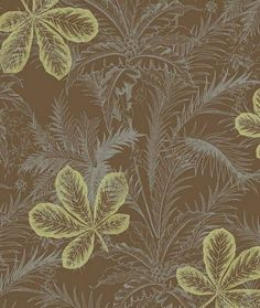 Gorgeous Tropical Leaf Forest Modern Layered Toile - Jungle, Metallic, Silver, Brown, Green - Wallpaper BY THE YARD -  AT4153