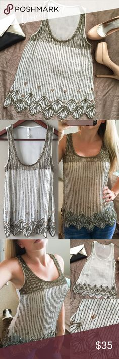 Spotted while shopping on Poshmark: Willow & Clay bronze beaded sheer tank top S! #poshmark #fashion #shopping #style #Willow & Clay #Tops