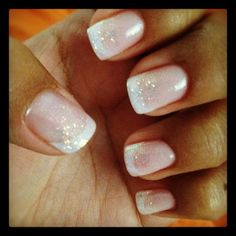 Shellac French tip and glitter
