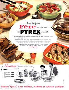 Publicité Pyrex - 1960 - vaisselle -