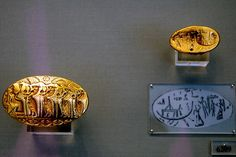 "Gold signet rings from the ""Tiryns Treasure"" of Mycenae. Dated to the 15th century B.C."