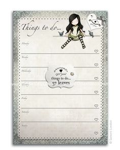 Gorjuss notepad - Things to do