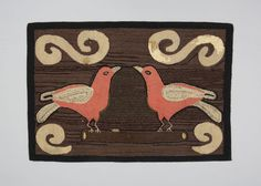 Two birds hooked rug, circa 1920-1940