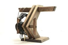 Headphone Stand III + Dual Cable Wraps: Headphone Station Headphone Holder