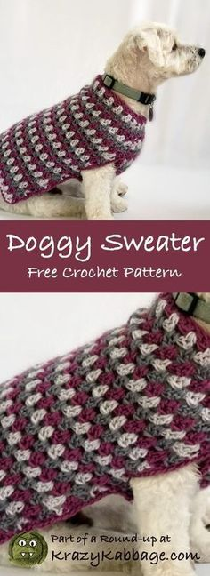 Free Crochet Dog Sweater Patterns For The Pets Pinterest
