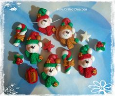 Fimo Weihnachten · Christmas Polar Bear Polymer Clay Scapbooking Charm,  Pendant, Bow Center, Bead. $15.50