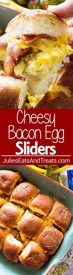 Cheesy Bacon Egg Breakfast Sliders ~ Delicious Slider Sandwiches Stuffed with Bacon, Scrambled Eggs and Cheese! The Perfect Easy Breakfast or Brunch Recipe! via @julieseats
