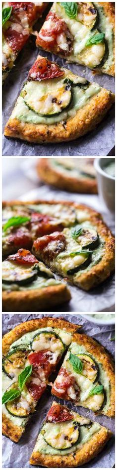 Grilled Mini Cauliflower Crust Pizza with Greek Yogurt Pesto - The WHOLE pizza is under 350 calories and you'll learn the secret to never having a soggy crust again! Gluten/Grain Free