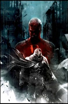 Shadowland: Moon Knight Cover: Moon Knight and Daredevil Walking Marvel Comics Poster - 30 x 46 cm Marvel Comic Character, Comic Book Characters, Comic Books Art, Comic Art, Book Art, Comic Movies, Marvel Characters, Marvel Comics Art, Marvel Vs
