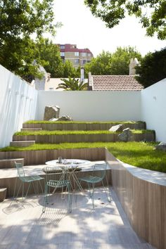 Terraced urban patio and and yard.