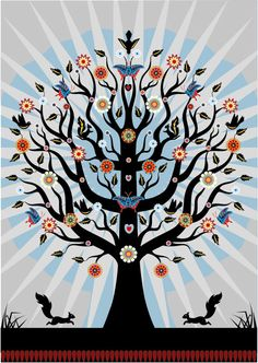 Tree Time illustration print by Suzanne Carpenter.   hollyoverthemoon on Etsy