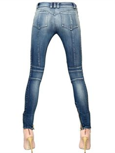 BALMAIN - WASHED COTTON DENIM BIKER JEANS - LUISAVIAROMA - LUXURY SHOPPING WORLDWIDE SHIPPING - FLORENCE