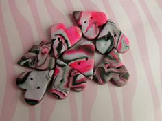 8 Large Pink Lilac and Black Mix Heart Polymer Clay Buttons - Crafts Needlework,Jewellery Making. £2.75, via Etsy.