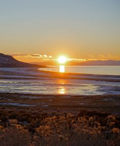 Sunset at Antelope Island State Park, Utah in Winter