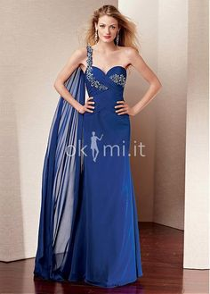 feb2d61d1bd9 Abiti mamma Sposa moda monospalla in Chiffon Senza Vita - okmi.it Floor  Length Dresses