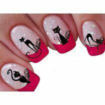These look very nice. Cat Nail Art, Cat Nails, Paw Print Nails, Gel Nail Art Designs, Girls Nails, Halloween Nails, Beauty Nails, Pretty Nails, Nail Colors