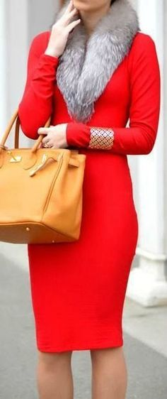 Street style   Flattering red dress with fur collar and golden cuff