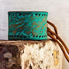 Turquoise Jewelry Leather Cuff OOAK by rainwheel on Etsy