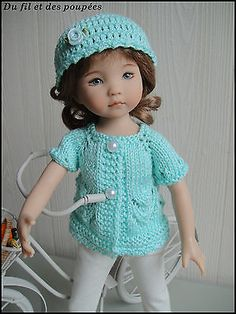 "Handknitted Sweater and Hat for  LITTLE DARLING doll - 13""  (Dianna Effner)"