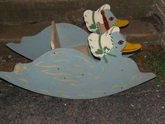 Vintage AMERICAN Solid Wood Childs Duck Rocker Rocking TOY
