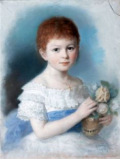 """Portrait Of A Young Girl"" by Michele Gordigiani (1835-1909)"