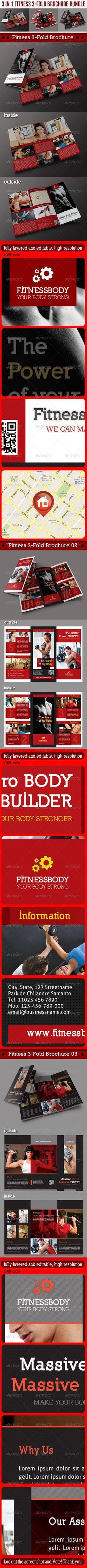 3 in 1 Fitness 3-Fold Brochure Bundle by rapidgraf Pack included:  3 Fitness 3-Fold Brochures Fully Layered PSD files Well organized folder Trifold Brochure A4 Bleed Size: