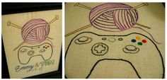 Wedding embroidery gift. (crafter + gamer = love)