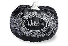 "8"" Welcome Pumpkin, Black $29 #OKL"