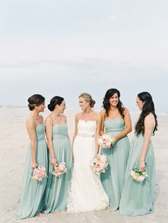 Dusty blue brides maids