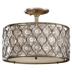 Lucia Semi Burnished Silver 3-light Semi Flush Fixture - Free Shipping Today - Overstock.com - 16854944 - Mobile