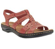484100f5090 Clarks Leather Multi-Strap Sandals - Leisa Apple — QVC.com