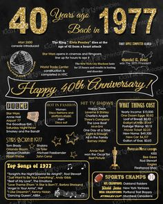 1977 - 40th Anniversary Chalkboard Sign Poster - INSTANT DOWNLOAD - Our chalkboard anniversary sign is filled with facts, events, and fun tidbits from 1977. Its a super fun keepsake and makes a truly special gift or party decoration. Simply print and use as is, or put in a frame.  **INTRODUCTORY PRICE for a very limited time - regular price will be $15 **  ►►This item cannot be modified in any way  INSTANT DOWNLOAD files are available to download almost instantly and 24/7. It is all handled…