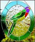 TROPICAL DECOR -   Parrot - Bright Tropical Bird Stained Glass Sun Catcher - www.AccentonGlass.com