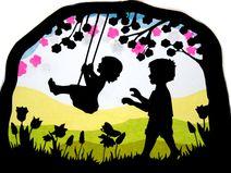 Fensterbild Kinder Schaukel Transparentbild