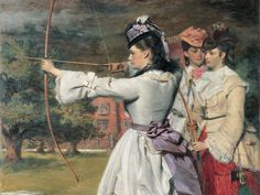 The Fair Toxophilites by William Powell Frith, 1872. The artist portrays his three daughters as archers... a painting that has since become a famous iconic image of 'affluent Victorian leisure'