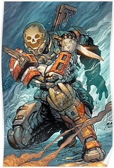 HALO Reach - Emile by Tyler Kirkham, colours by Arif Prianto Character Concept, Character Art, Concept Art, Halo Reach Emile, Chasseur De Primes, Halo Armor, Halo Spartan Armor, Halo Game, Bd Comics