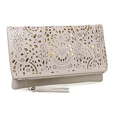 BMC Womens #Creamy Beige Perforated Cut Out Pattern #Gold Accent Background Foldover Pouch Fashion Clutch #Handbag  Full review at: http://toptenmusthave.com/best-evening-clutch-bags/