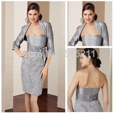 Beautiful Lace Three Quater Sleeve Jacket Taffeta Knee Length Mother of The Bride Dress Silver $129.99