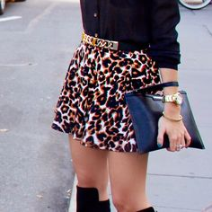 Skater Leopard Skirt Short Skater Skirt with leopard prints. Worn once for the pictures! Conditions; like new Forever 21 Skirts Circle & Skater