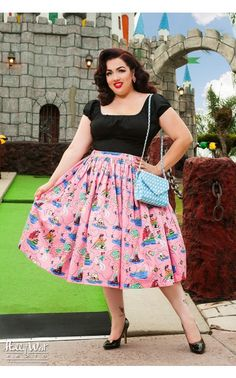 Pinup Couture- Jenny Gathered Full Skirt in Neverland Print - Plus Size | Pinup Girl Clothing