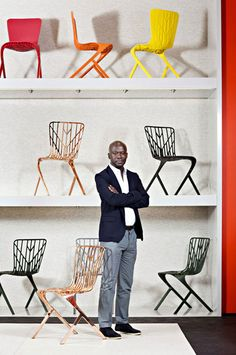 Architect David Adjaye  is showing his debut furniture collection for Knoll in Milan this week, which is now available in new colours.
