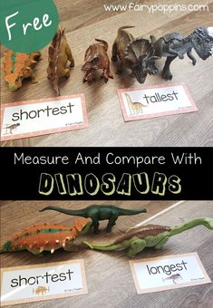 Non standard measurement activities for kids. These free dinosaur measurement activities are for kids learning to measure using non standard units such as cubes, paper clips and links. They are suitable for kids in kindergarten and first grade. Numeracy Activities, Childcare Activities, Measurement Activities, Preschool Curriculum, Preschool Math, Kindergarten Activities, Toddler Activities, Vocabulary Activities, Homeschool