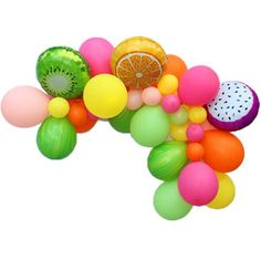 Our Tutti Frutti Balloon Garland Kit will add a Fruity touch to your Summer party! It comes with 3 fruit balloons and a variety of latex balloons in tropical colors. Tutti Frutti, Fruit Birthday, 2nd Birthday Party Themes, Balloon Birthday, Birthday Diy, Birthday Ideas, Kinra Girl, Tropical Party, Tropical Colors